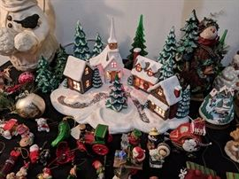 Lighted Christmas village and ornaments