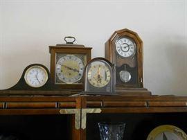 ANTIQUE CLOCKS MANTLE AND SHELF