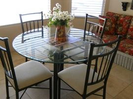 BEVELED GLASS TOP DINING SET VERY NICE