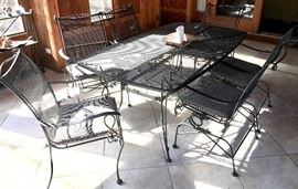 Wrought Iron Rectangle Patio Table with 6 Chairs.