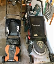 Electric & has lawn mowers