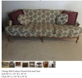 Vintage Mid Century Modern Sofa and Chair