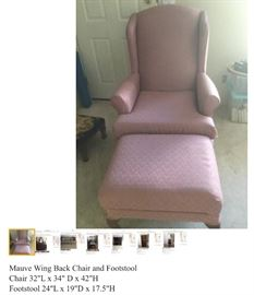 Mauve Wing Back Chair and Footstool