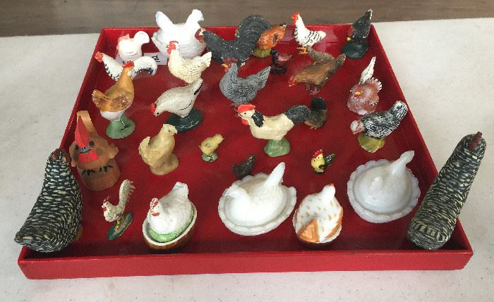 Collection of Antique Porcelain and Metal Chickens