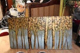 Large Canvas Painting of trees on teal back ground