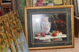 Framed Art of Vase and fruit