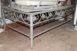 Iron coffee table with matching square end tables. Tile tops and can be used outside.