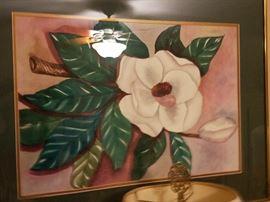 Watercolor print of magnolias.