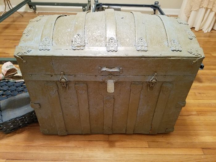 """Old trunk that mom painted and then """"antiqued""""."""