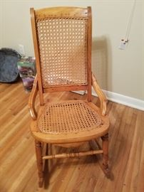 Great Grandmother's cane back and seat rocking chair.