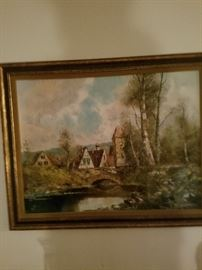 Old world oil painting. 1960-70s.