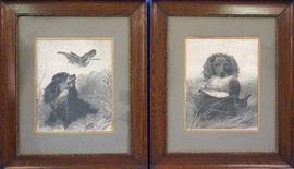 Two spaniel engravings by A.G. Van Allsburg, Grand Rapids