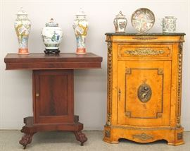Empire Mahogany Mint julep table, burl walnut side cabinet, Chinese porcelain