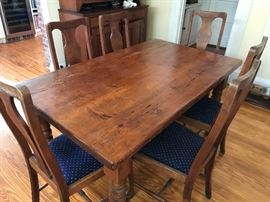 Dining Table Farm table                                                                        6 chairs (American early 1900s sold separately)