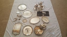 Silver Plated Trays, Butter Dishes, Bowls, and Miscellaneous Pieces