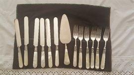 Antiques Silver & Ivory Fork, Knife, Server Set