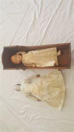 Antique Doll Bed & Porcelain Dolls