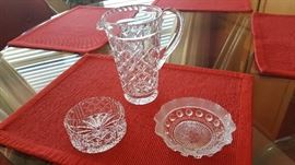 Crystal Pitchers and Dishes