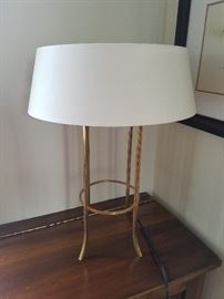 Pair of matte gold lamps, white shade, 2-light	17dia x 24.5h	$225.00