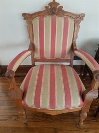 Arm Chair, Antique, Silk stripe upholstery	27w x 27d x 38h (16sh)	$175.00	Front Wheels
