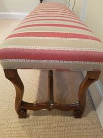 Antique Bench, Stripe Silk Fabric, Hand-carved	72w x 20d x 20h	$295.00