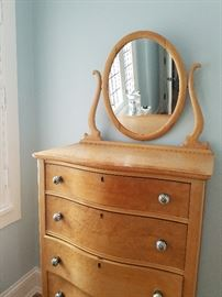 Antique Dresser with Oval Mirror, 5-drawer	30w x 20d x 72h	$325.00	Anthropologie knobs