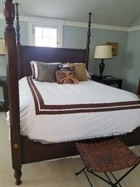 Queen Four Poster Bed, Mahogany	68w x 87d x 90h	$1495.00 Matching Side Tables, 1 drawer, leather woven shelf	32w x 22d x 31h	$695.00                                                 Leather Woven Bench	21w x 17d x 17h	$175.00  Pair of Brown Lamps, Cream Shade with Brown Trim	18dia x 32h	$250.00