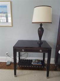 Pair of Side Tables, one drawer with woven shelf, 32wx22dx31h, $695