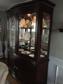 China cabinet with lights.