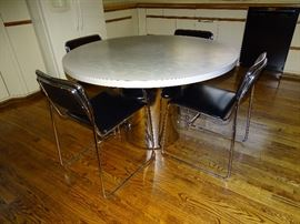 Loewenstein chairs, chrome Formica pedestal table