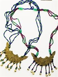 Indonesian Bead and Brass Necklaces