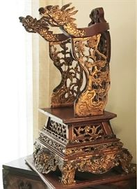 Child Size Dragon Throne Chair with Chaozhoutype Gilt on Lacquered Wood  bought in Thailand