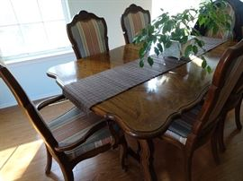 Thomasville Dining Room Trestle  Table with 6 Chairs leaves & pads. Also Enclosed Hutch
