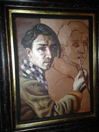 """""""Self Portrait"""" by Edward Povey painted and signed in Bangor Wales ------ Edward Povey was born in 1951 in London."""