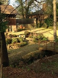 The side and back gardens are ready to burst with spring blooms.