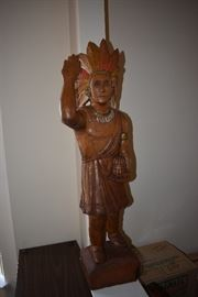 Late 1940's-50's hand carved Cigar Advertising Pine Statue with hand painting