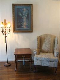 Wing Back Chair, End Table, Unusual Floor Lamp