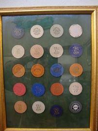 Original, Framed  Balinese Room Poker Chip Collection