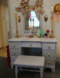 Painted Blue Vanity, Bench and Mirror