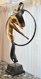 "Angelo Basso bronze, 1986 edition, 117 of 175. ""Leda and the Swan"""