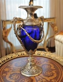 800 silver and cobalt glass urn