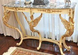 Marble-top gilt-swan console table