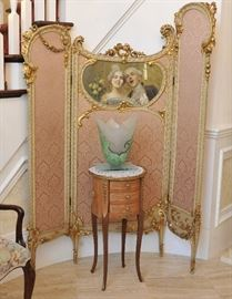 Folding screen, inlaid round side table, Guenther Luna art glass vase.