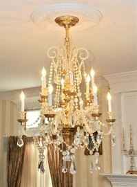 The many chandeliers are for sale, too