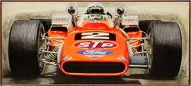 "OIL PAINTING ON BOARD, C1969, H 38"", W 80"", MARIO ANDRETTI, 1969 INDIANAPOLIS 500 WINNER"