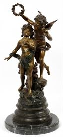 AFTER AUGUSTE MOREAU, BRONZE CHERUB, SCULPTURE, H 27'', W 14'', #71/75