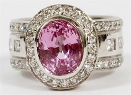 18KT WHITE GOLD, NATURAL PINK SAPPHIRE AND DIAMOND RING, SIZE 5