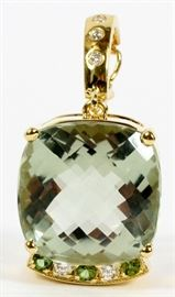 "20CT NATURAL GREEN AMETHYST, .25CT DIAMOND AND 18KT GOLD PENDANT, H 1 1/2"", W 3/4"""