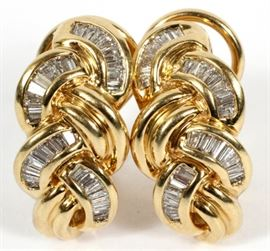 "1.70CT NATURAL BAGUETTE DIAMOND AND 14KT YELLOW GOLD EARRINGS, PAIR, H 3/4"", W 3/8"""