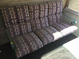 Wrought iron patio loveseat w/cushion